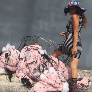 Michael Kors dress size xxs navy dress leather